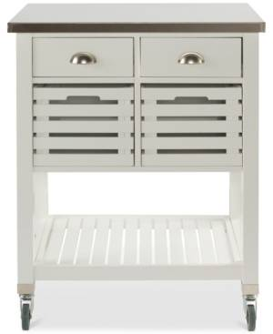 Linon Home Decor Robbin Kitchen Cart, White  - White