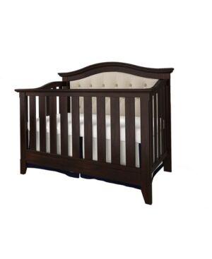 Belle Isle Furniture Magnolia 4-in-1 Convertible Upholstered Crib  - Espresso/Beige