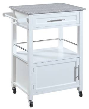 Linon Home Decor Mitchell Kitchen Cart with Granite Top  - White