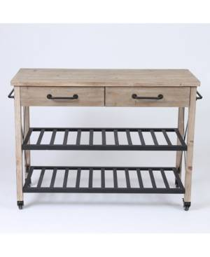 Luxen Home Two Drawer Wood Kitchen Cart With Metal Rack Open Storage  - Brown