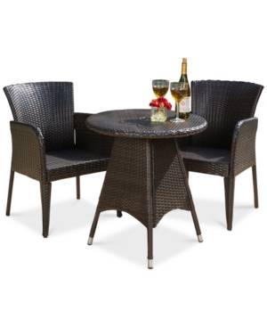 Noble House Toppin 3-Piece Bistro Set  - Brown