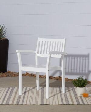 Vifah Bradley Outdoor Patio Wood Garden Stacking Armchair Set of 2  - White