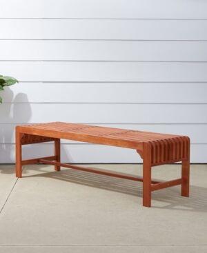 Vifah Malibu Outdoor Patio Wood Backless Garden Bench  - Tan