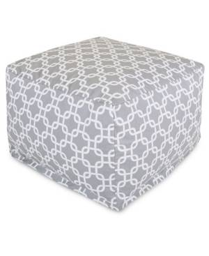 """Majestic Home Goods Links Ottoman Square Pouf with Removable Cover 27"""" x 17""""  - Gray"""
