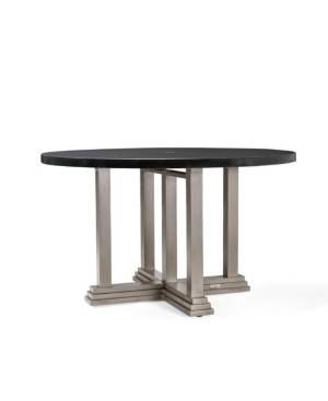 Furniture Winston Grayson Round Aluminum Top Outdoor Dining Table, Created for Macy's  - Brown