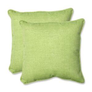"Pillow Perfect Baja Linen Lime 18.5"" Throw Pillow, Set of 2  - Green"