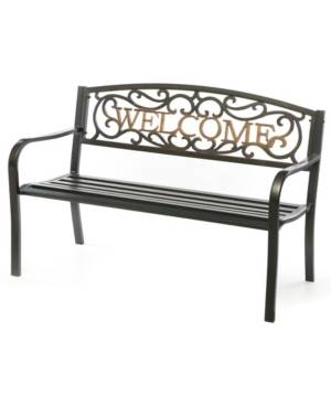 Gardenised Steel Outdoor Patio Garden Park Bench with Cast Iron Welcome Backrest  - Black