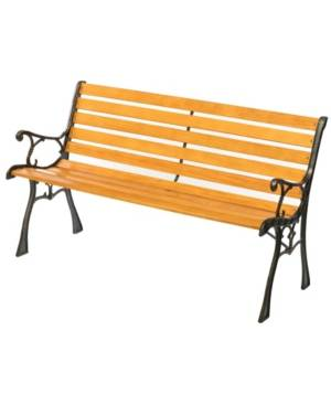 Gardenised Wooden Outdoor Park Patio Garden Yard Bench with Designed Steel Armrest and Legs  - Brown