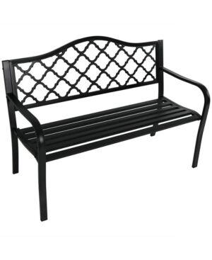 Sunnydaze Decor Cast Iron Outdoor Garden Bench  - Black