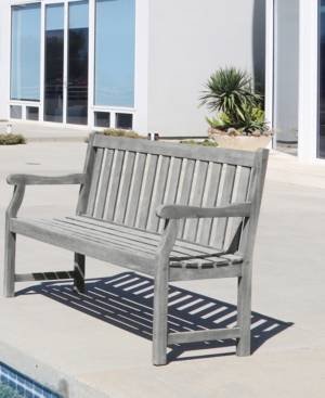 Vifah Renaissance Outdoor Patio Hand-Scraped Wood Garden Bench  - Gray