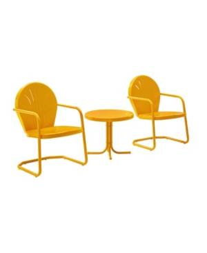 Crosley Griffith 3 Piece Metal Outdoor Conversation Seating Set - Two Chairs With Side Table  - Orange