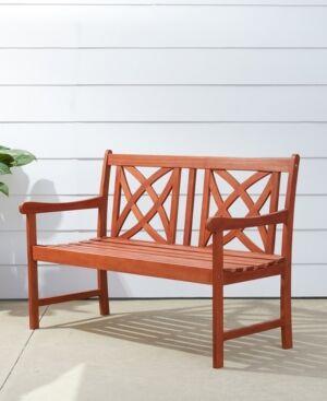 Vifah Malibu Outdoor Patio Wood Garden Bench  - Tan