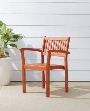 Vifah Malibu Outdoor Garden Stacking Armchair Set of 2  - Tan