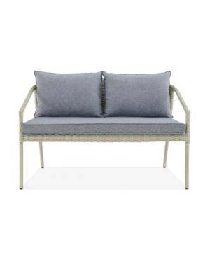 Alaterre Furniture Windham All-Weather Wicker Seat Outdoor Bench with Cushions  - Grey