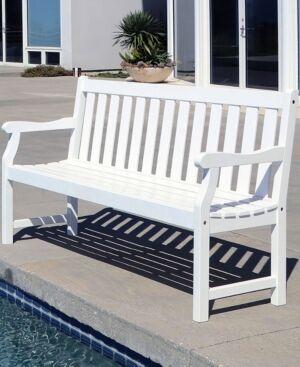 Vifah Bradley Outdoor Patio Wood Garden Bench  - White