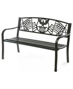 Gardenised Steel Outdoor Patio Garden Park Bench with Cast Iron American Flag Backrest  - Black