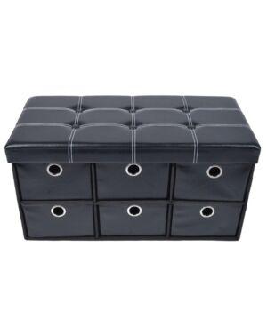 Achim Collapsible 6 Drawer Storage Ottoman  - Black