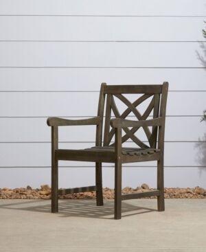 Vifah Renaissance Outdoor Patio Hand-Scraped Wood Garden Armchair  - Gray