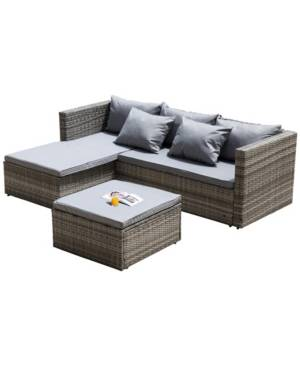 Gardenised Outdoor Patio Garden Contemporary Sectional Sofa with Cushion and Ottoman and Coffee Table  - Brown