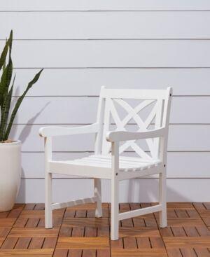 Vifah Bradley Outdoor Garden Armchair  - White