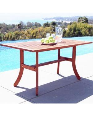 Vifah Malibu Outdoor Rectangular Dining Table with Curvy Legs  - Tan