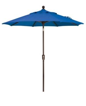 Treasure Garden Outdoor Bronze 7.5' Push Button Tilt Umbrella  - Cobalt