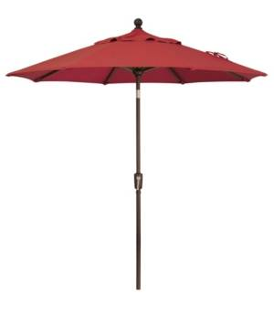 Treasure Garden Outdoor Bronze 7.5' Push Button Tilt Umbrella  - Red