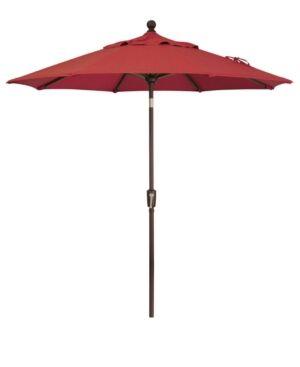 Treasure Garden Outdoor Bronze 7.5' Push Button Tilt Umbrella  - Red