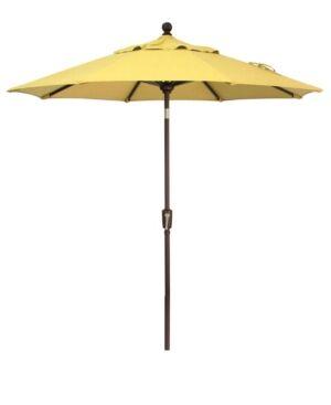 Treasure Garden Outdoor Bronze 7.5' Push Button Tilt Umbrella  - Lemon