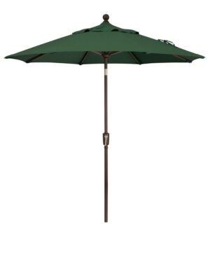 Treasure Garden Outdoor Bronze 7.5' Push Button Tilt Umbrella  - Forest Green