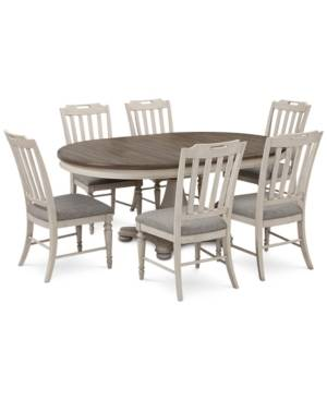Furniture Barclay Expandable Round Pedestal Dining, 7-Pc. Set (Round Dining Pedestal Table & 6 Upholstered Side Chairs)  - Vintage White