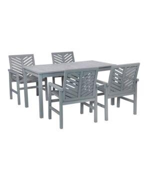 Walker Edison 5 Piece Chevron Outdoor Patio Dining Set  - Gray