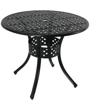 Sunnydaze Decor Outdoor Round Patio Dining Table  - Black