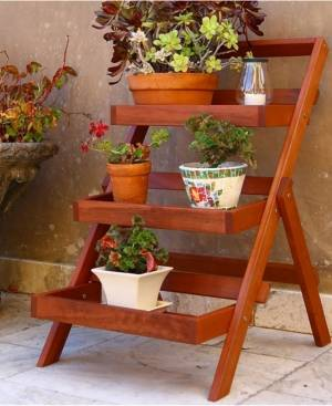 Vifah Malibu Outdoor 3-Layer Wood Garden Plant Stand  - Tan
