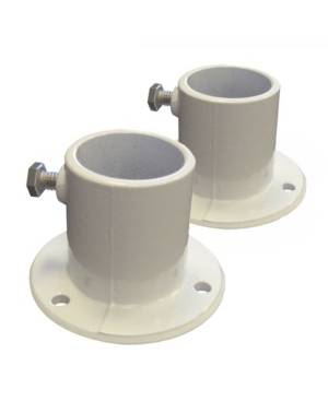 Blue Wave Sports Aluminum Deck Flanges for Above Ground Pool Ladder - Pair  - White