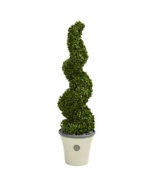 Nearly Natural Spiral Hazel Leaf Artificial Topiary Tree in Decorative Planter Uv Resistant Indoor, Outdoor  - Green