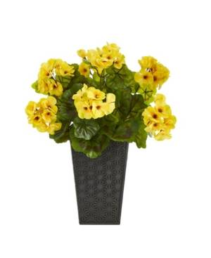 Nearly Natural Geranium Artificial Plant in Embossed Planter, Indoor and Outdoor  - Yellow