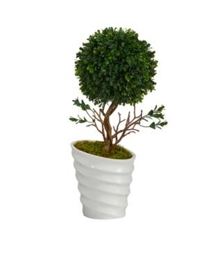Nearly Natural Boxwood Topiary Artificial Tree in White Vase Uv Resistant indoor, Outdoor  - Green