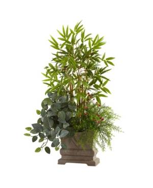 "Nearly Natural 38"" Mixed Mini Bamboo, Fittonia and Springeri w/ Planter  - Green"