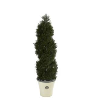 Nearly Natural Double Pond Cypress Spiral Topiary Artificial Tree in Planter, Indoor and Outdoor  - Green