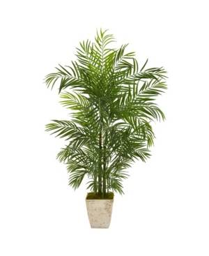 """Nearly Natural 63"""" Areca Artificial Palm Tree in Country White Planter Uv Resistant Indoor/Outdoor  - Green"""