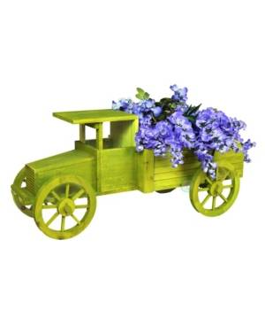 Gardenised Old Style Wooden Car Garden Planter  - Green