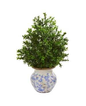 """Nearly Natural 21"""" Boxwood Artificial Plant in Decorative Vase (Indoor/Outdoor)  - Green"""