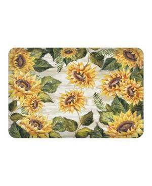 Laural Home Sunflowers On Shiplap Kitchen Mat  - Marigold