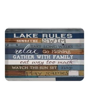 Laural Home Lake Rules Kitchen Mat  - Navy