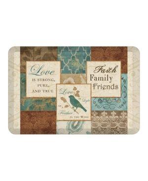 Laural Home Faith, Family Friends Kitchen Mat  - Brown