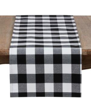Saro Lifestyle Buffalo Plaid Cotton Blend Table Runner  - Black