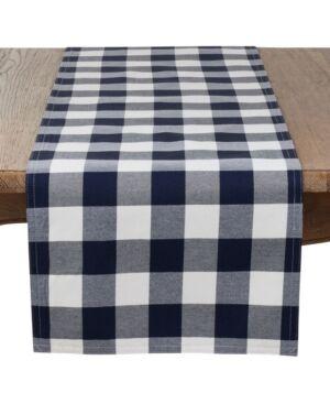Saro Lifestyle Buffalo Plaid Cotton Blend Table Runner  - Navy Blue