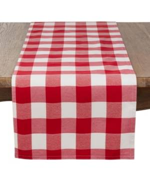 Saro Lifestyle Buffalo Plaid Cotton Blend Table Runner  - Red