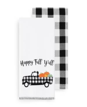 Elrene Happy Fall Y'all and Check Kitchen Towel Set  - Black/white